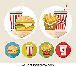 hamburger, tasse, boisson, frire, francais, papier, soude