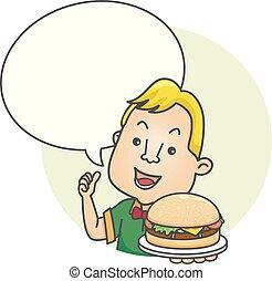 hamburger, tekstballonetje, illustratie, man