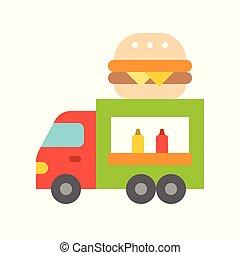 Hamburger truck vector, Food truck flat style icon