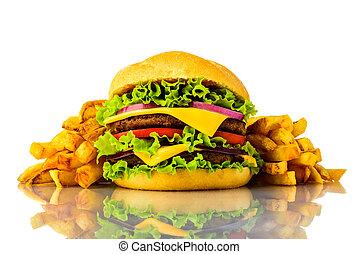 hamburger, und, pommes