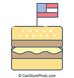 Hamburger vector, United state independence day related icon