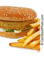 hamburger, végétarien, frire