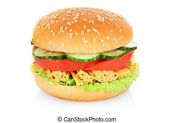 hamburger, végétarien, isolé