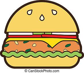 hamburger, végétarien, vecteur, icône