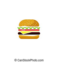 hamburger, vecteur, icône, isolé, plat, dessin animé, sandwich, logotype, clipart, hamburger, symbole
