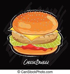 hamburger, vector, black , vrijstaand, achtergrond