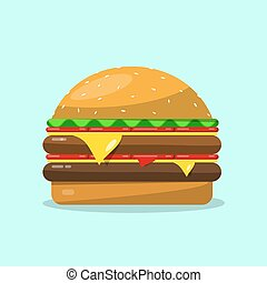 Hamburger. Vector Flat Design Food Icon.