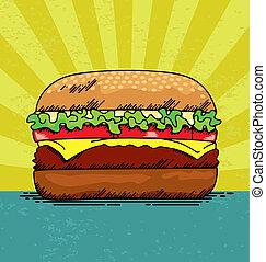 Hamburger - Vector illustration of a juicy hamburger.