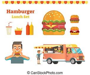Hamburger vector illustration set