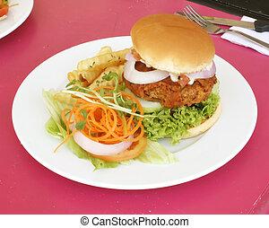 hamburger, vegetariano, frigge, francese