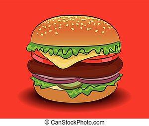 hamburger, vettore, classico