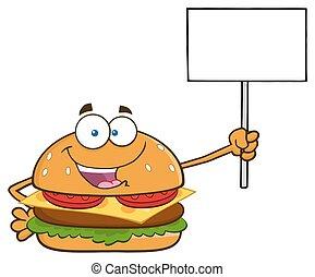 hamburger, vide, tenue, signe