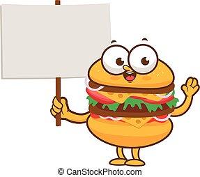 hamburger, vuoto, cartone animato, presa a terra, segno