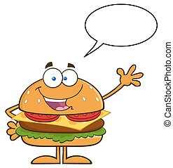 Hamburger Waving With Speech Bubble