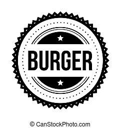 hamburger, weinlese, briefmarke, vektor