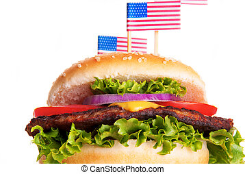Hamburger with American Flags