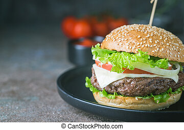 Hamburger with beef meat