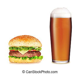 Hamburger with beer over white background