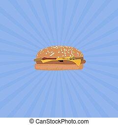 Hamburger with blue background