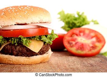 hamburger with bread,tomato,onion,lettuce,meat,cheese,ham...