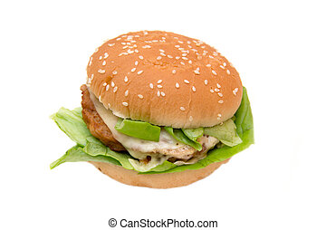 Hamburger with cheese and lettuce on white background