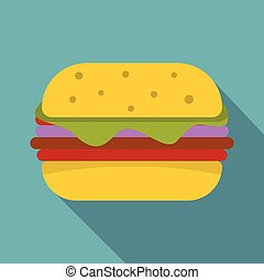 Hamburger with cheese and meat patty icon
