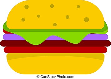 Hamburger with cheese and meat patty icon isolated