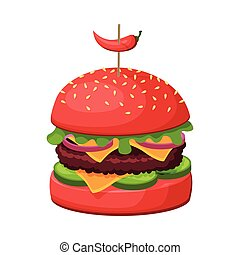 Hamburger with Cheese, Bun with Sesame Seeds, Lettuce, Meat Patties and Hot Chilli Pepper, Fast Food Meal Vector Illustration