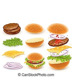 hamburger with cheese, lettuce, onion and meat rissole. Vector illustration