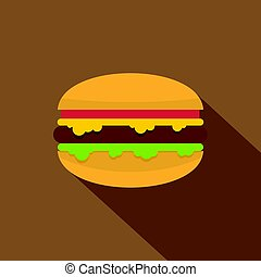 Hamburger with cheese, tomatoes and salad icon
