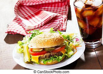 hamburger with cola