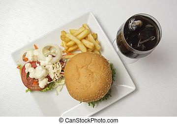 Hamburger with Cola water