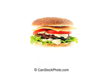 hamburger with cutlet and vegetables close up