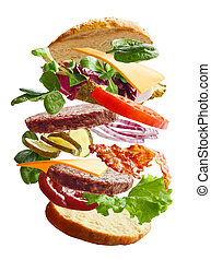 Hamburger with flying ingredients