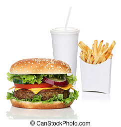 Hamburger with french fries and a cola drink, isolated