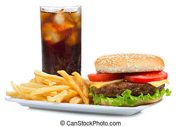 hamburger with fries and cola