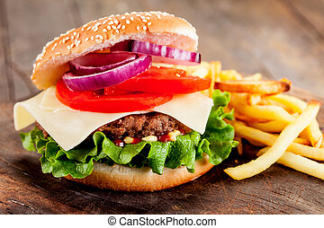 Hamburger with fries - photo of delicious hamburger with...