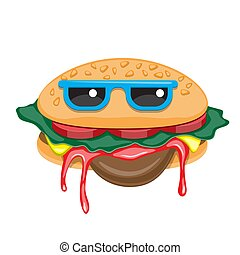 Hamburger with glasses cartoon on a white isolated background. Vector image