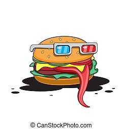 Hamburger with glasses on a white isolated background. Vector image