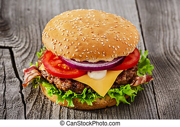 hamburger with grilled meat cheese