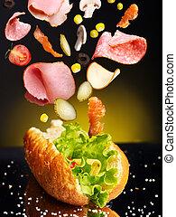Hamburger with ingredient. Concept.