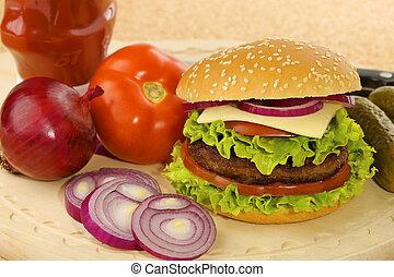 hamburger with ingredients