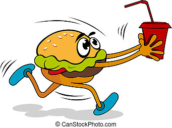 Hamburger with juice - Fast food cartoon hamburger with...