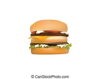 hamburger with meet, tomato, cheese, mayonnaise, lettuce