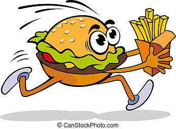Hamburger with potato - Fast food cartoon hamburger with...