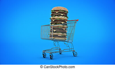 hamburger with shopping cart. 3d rendering