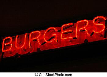 hamburger, zeichen.