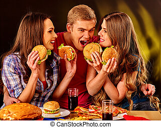 hamburgers., 사람, 그룹, 보유, 크게