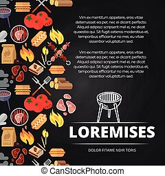 hamburgers, affiche, équipement, conception, tableau, barbecue