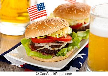 Hamburgers and beer.